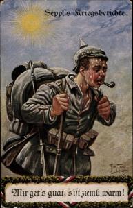 Künstler Ak Thiele, Arthur, Seppl's Kriegsberichte aus Belgien, Pfeife