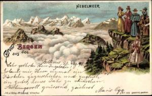 Litho Schweiz, Gruß aus den Bergen, Nebelmeer, Gipfel, Gebirgslandschaft