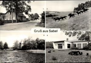 Ak Sabel Güstrow in Mecklenburg Vorpommern, Dorfstraße, Pferdekoppel, Kulturhaus, See