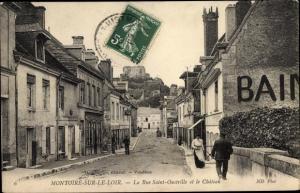 Ak Montoire Loir et Cher, Rue Saint Oustrille, Chateau