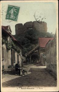 Ak Saint Gondon Loiret, La Butte, Ruine, Mann, Hund