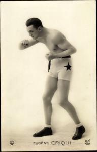 Ak Boxer Eugene Criqui, Portrait