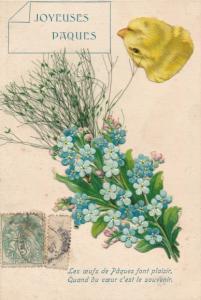 Präge Material Ak Glückwunsch Ostern, Küken, Vergissmeinnicht, Pflanzenteile