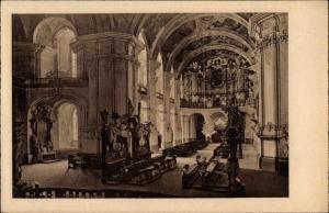 Ak Krzeszów Kamienna Góra Grüssau Schlesien, Inneres der Abteikirche mit Orgelbühne