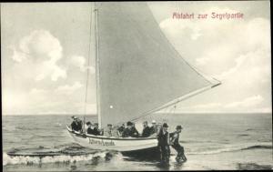 Ak Abfahrt zur Segelpartie, Segelboot Kaiserin Augusta
