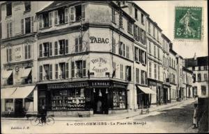 Ak Coulommiers Seine et Marne, La Place du Marché, Epicerie Lenoble