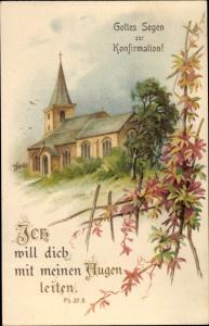 Litho Glückwunsch Konfirmation, Psalm 32 8, Ich will dich mit meinen Augen leiten, Kirche