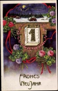 Präge Litho Glückwunsch Neujahr, Abreißkalender, Kalenderblatt 1, Kleeblätter, Winterlandschaft