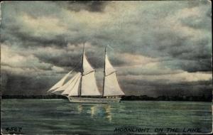 Ak Moonlight on the Lake, Segelboot auf dem Wasser
