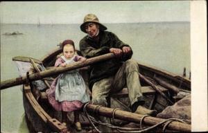 Künstler Ak Renouf, Emile, The helping hand, Fischer und Mädchen, Segelboot