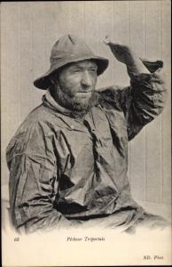 Ak Pecheur Treportais, französischer Fischer