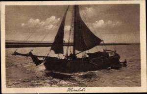 Ak Heimkehr, Segelboot auf dem Wasser