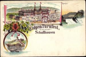 Litho Schaffhausen Stadt Schweiz, Eidgenössisches Turnfest 1897, Rheinfall