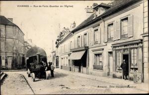 Ak Viarmes Val d'Oise, Rue de Paris, Quartier de l'Eglise, Epicerie, Dampflok