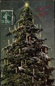Ak Frohe Weihnachten, Weihnachtsbaum, Stern, Kerzen, Sternenhimmel