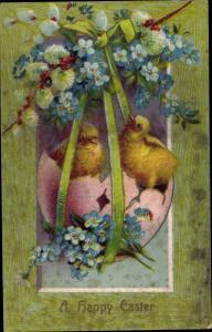 Präge Passepartout Ak Glückwunsch Ostern, Küken schlüpfen aus Osterei, Vergissmeinnicht