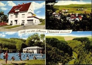 Ak Dickendorf in Rheinland Pfalz, Privatpension Edith Naumann, Schwimmbad, Ortspartie, Landpartie