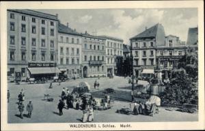 Ak Wałbrzych Waldenburg Schlesien, Markt, Max Schäl Modewaren