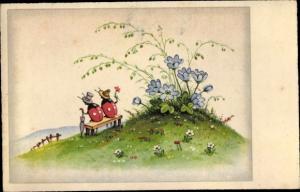 Künstler Ak Zwei Marienkäfer auf einer Bank, Blumenwiese