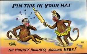 Künstler Ak Pin this in your hat, no monkey business, Affen, Affenfrau mit Nudelholz