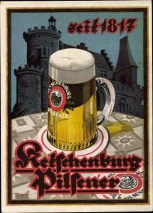 Künstler Ak Ketschenburg Pilsener seit 1817, Bier Reklame
