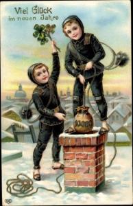 Präge Ak Glückwunsch Neujahr, Schornsteinfeger, Geldsack, Klee