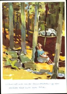 Künstler Ak Mundorf, Victor, VW Volkswagen, Paar im Wald