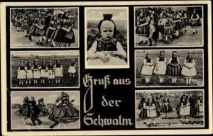 Ak Hessische Trachten, Schwalm, Hochzeitszug, Kinder beim Tanz
