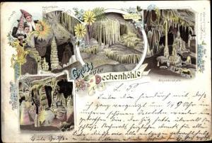 Litho Grüne Iserlohn im Märkischen Kreis, Dechenhöhle, Kaiserhalle, Orgelgrotte, Alhambragrotte