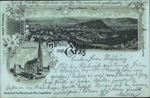 Mondschein Litho Graz Steiermark, Herz Jesu Kirche, Panorama von der Hilmwarte