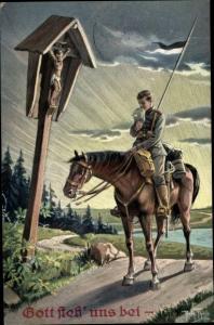 Künstler Ak Thiele, Arthur, Gott steh' uns bei, Deutscher Soldat zu Pferd am Wegekreuz, Gebet