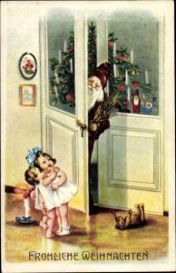Ak Frohe Weihnachten, Weihnachtsmann, Kinder, Tannenbaum, Teddy