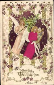 Stoff Präge Litho Glückwunsch Weihnachten, Zwei Engel mit Handharfe und Tannenbaum