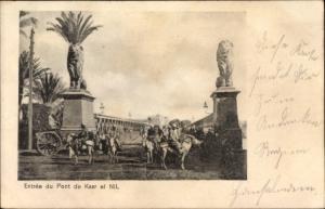 Ak Kairo Ägypten, Entree du Pont de Kasr el Nil