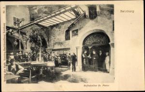 Ak Salzburg in Österreich, Stiftskeller St. Peter, Besucher, Tische