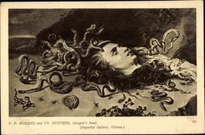 Künstler Ak Rubens, P. P., Snyders, Fr., Gorgon's Head, abgetrennter Kopf, Schlangen, Medusa