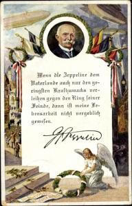 Künstler Ak Ferdinand Graf von Zeppelin, Zitat, Luftschiffe, Flaggen, Kränze