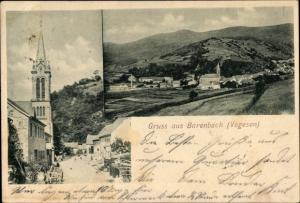 Ak Barembach Barenbach Elsass Bas Rhin, Kirche und Straßenpartie, Panorama, Vogesen