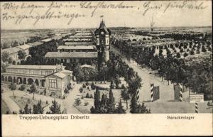 Ak Dallgow Döberitz im Havelland, Truppenübungsplatz, Barackenlager, Einfahrt, Wasserturm
