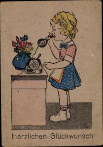 Ak Glückwunsch sonstige, Mädchen am Telefon, Blumenvase