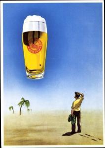 Künstler Ak Bier macht den Durst erst schön, Mann in der Wüste
