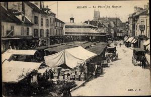 Ak Meaux Seine-et-Marne, Place du Marche