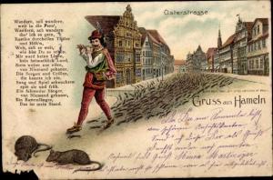 Litho Hameln in Niedersachsen, Osterstraße, Rattenfänger von Hameln