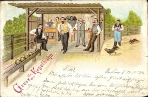 Litho Gruß von der Kegelbahn, Kegler, Männer