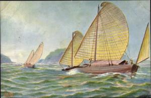 Künstler Ak Rave, Chr., Marine Galerie 208, Transportboote im Golf von Tonking, Jetztzeit