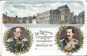 Ganzsachen Ak Versailles Yvelines, Schloss, Ort der Kaiserproklamation 1871, Kaiser Wilhelm I.