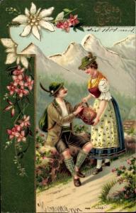 Präge Litho Grüß Gott, Mann und Frau in bayerischen Trachten