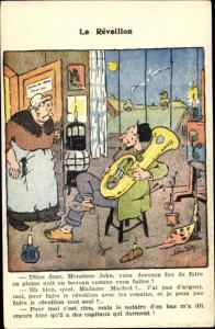 Künstler Ak Le Réveillon, Mann mit Blasinstrument, Frau
