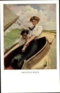 Künstler Ak Skipper and Mate, Mann, Frau, Segelboot, Munk