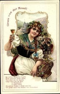 Litho Gruß von der Mosel, Wein, Frau, Weintrauben